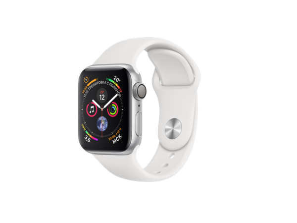 Apple Watch Sport Series 4 40mm Silver Aluminum Case with White Sport Band