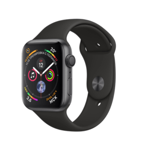 Apple Watch Sport Series 4 44mm Space Gray Aluminum Case with Black Sport Loop
